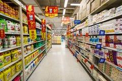 中国杭州沃尔码超级市场零售物品 免版税库存照片