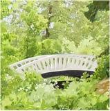 中国桥梁在Monrepos公园维堡,圣彼德堡 免版税库存图片