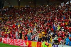 中国橄榄球支持者在澳大利亚 免版税库存照片