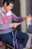 中国民间工艺品,手织的粗糙的布料 图库摄影