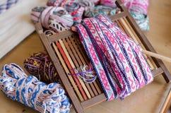 中国民间工艺品,手织的粗糙的布料 库存图片