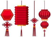 中国灯笼不同的设计  向量例证