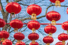中国灯笼作为欢乐装饰 免版税库存图片