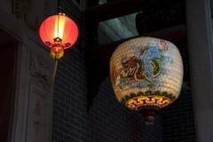 中国灯笼纸张寺庙 免版税库存图片