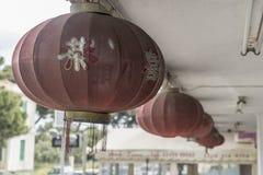 中国灯笼Ialysos村庄罗得岛 免版税库存照片