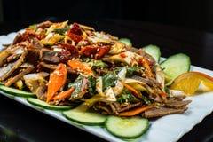 中国烹调、煮沸的牛肉用黄瓜和蕃茄在白色板材,在黑背景 库存照片