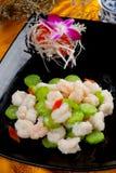 中国烹调油煎了虾 库存照片