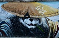 中国熊猫墙壁街道画街道艺术上海中国 免版税库存照片