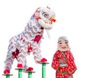 中国狮子服装舞蹈 免版税库存照片