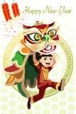 中国狮子舞蹈 库存图片