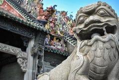 中国狮子雕象特写镜头 免版税库存图片