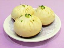 中国猪肉小圆面包,粤式点心 免版税图库摄影
