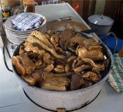 中国猪肉热的罐 库存图片