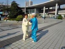 中国男人和妇女实践上实践tai池氏 免版税图库摄影