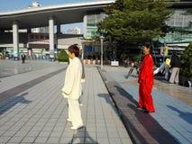 中国男人和妇女实践上实践tai池氏 库存图片