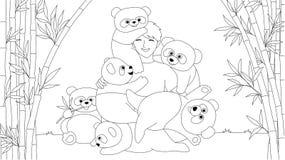 中国男孩在彩图页的竹树森林里喜欢使用与逗人喜爱的熊猫孩子和青少年的 也corel凹道例证向量 皇族释放例证