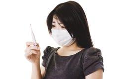 中国病的妇女 免版税库存图片