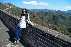 中国的八达岭长城中国妇女 库存图片