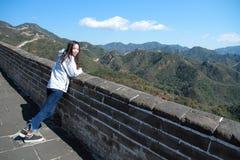 中国的八达岭长城中国妇女 免版税库存图片