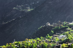 中国的四川Jiaju西藏村庄  免版税库存照片