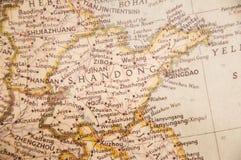 中国的山东减速火箭的地图  免版税库存图片