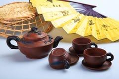 中国的茶器物紫色沙子罐 免版税库存照片