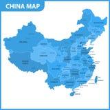 中国的详细的地图有地区的或州和城市,资本 库存照片