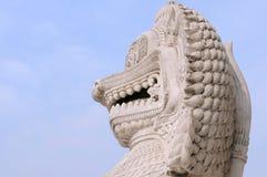 中国监护人狮子雕象 库存照片