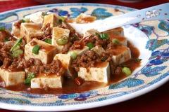 中国盘普遍的四川辣豆腐 库存照片