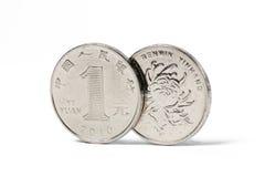 中国硬币一元 免版税图库摄影