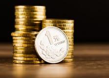 中国硬币一元 免版税库存照片