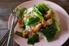 中国硬花甘蓝或中国无头甘蓝油煎用在蒸的米旁边的酥脆猪肉 免版税库存照片