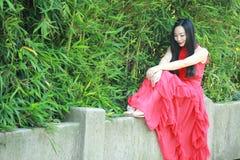 中国秀丽坐一座古老桥梁享受假期 库存照片