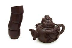 中国绿色查出的茶茶壶传统白色 免版税库存图片