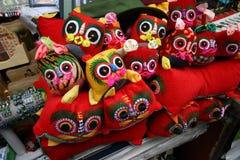 中国老虎题头鞋子 免版税库存照片