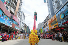 中国舞狮 免版税库存照片