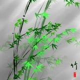 中国艺术:墨水绘画竹子 向量例证