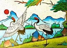 中国苍鹭绘画墙壁 库存照片