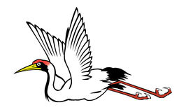 中国苍鹭绘画 免版税库存照片