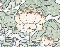 中国莲花绘画寺庙墙壁 免版税图库摄影