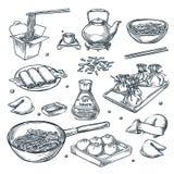 中国菜,传染媒介剪影例证 设置被隔绝的手拉的瓷,亚洲膳食 餐馆菜单设计元素 向量例证