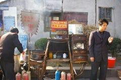 中国街道食物,饺子在西塘中国。 免版税库存照片