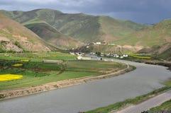 中国西藏左贡村庄 图库摄影