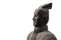 中国赤土陶器战士雕象半外形  库存照片