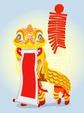 中国跳舞金黄狮子 库存例证