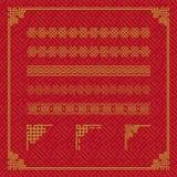 中国边界装饰品在各种各样的样式 皇族释放例证