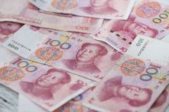 中国金钱100钞票背景 免版税库存图片