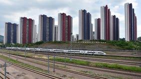 中国铁路高速和房地产 库存图片