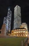 中国银行,长江集团中心和终审法院(CFA)大厦在香港在夜,中心地区之前 库存图片
