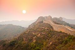 中国长城秋天早晨 免版税库存图片